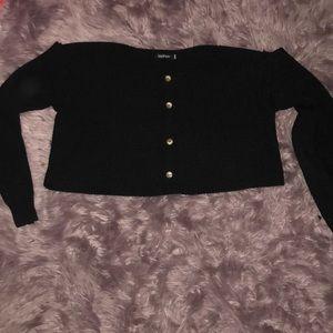 Plus Size Black Cozzy Crop Top